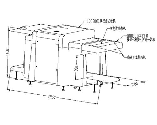 LD-10080G双视角X光安检机尺寸