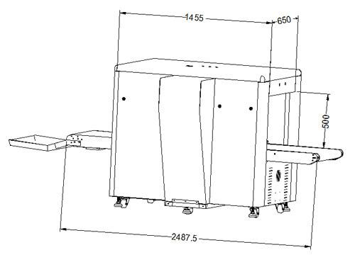 LD-6550D通道式X光安检机尺寸