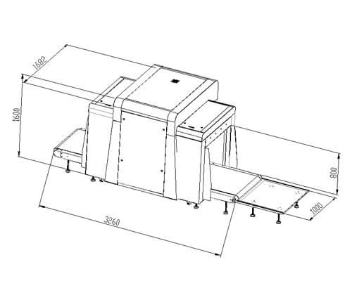 LD-10080D双视角通道式X光安检机尺寸